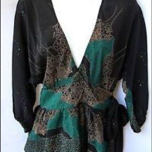 Anthropologie Maple 3/4 silk wrap blouse